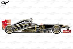 Lotus Renault R31, vista laterale, GP della Malesia