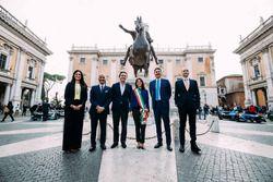 Virginia Raggi, maire de Rome, avec Angelo Sticchi Damiani, président de l'ACI, Alejandro Agag, PDG de la Formula E