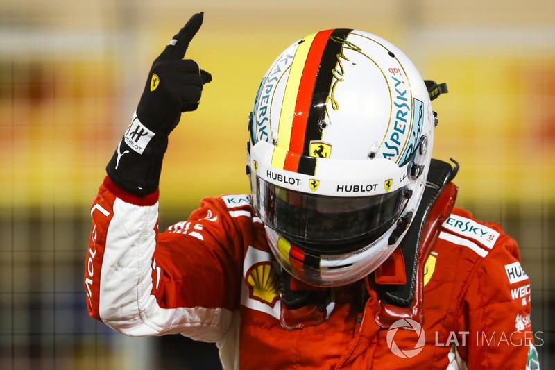 Sebastian Vettel, Ferrari, celebra la pole position