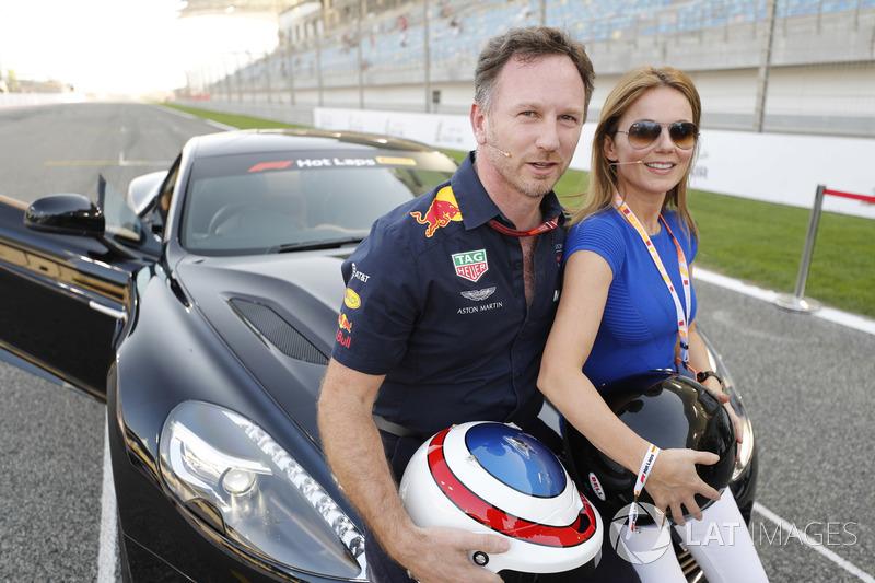 Geri Horner se prepara para una Hot Lap en un Aston Martin conducido por su esposo Christian Horner