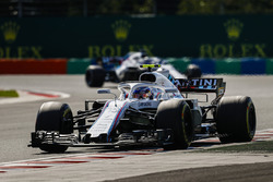Sergey Sirotkin, Williams FW41, leads Lance Stroll, Williams FW41