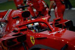 Sebastian Vettel, Ferrari SF71H in griglia