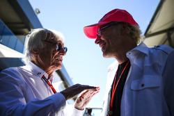 Bernie Ecclestone, Chairman Emeritus of Formula 1, with former champion Jacques Villeneuve