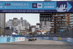 Jean-Eric Vergne, Techeetah, crosses the line, takes the chequered flag to win the race from Lucas d