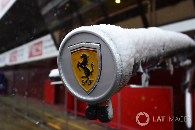 Ferrari logo as snow stops testing on day three