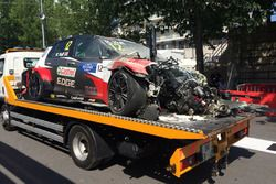 Car of Rob Huff, Sébastien Loeb Racing Volkswagen Golf GTI TCR after his crash