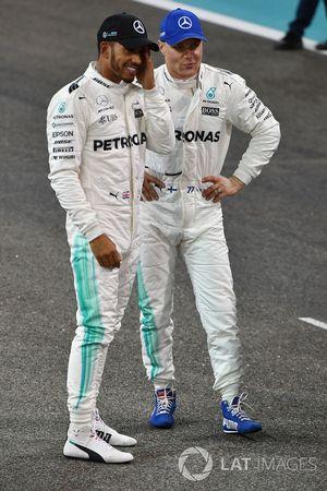Lewis Hamilton, Mercedes AMG F1 en polesitter Valtteri Bottas, Mercedes AMG F1