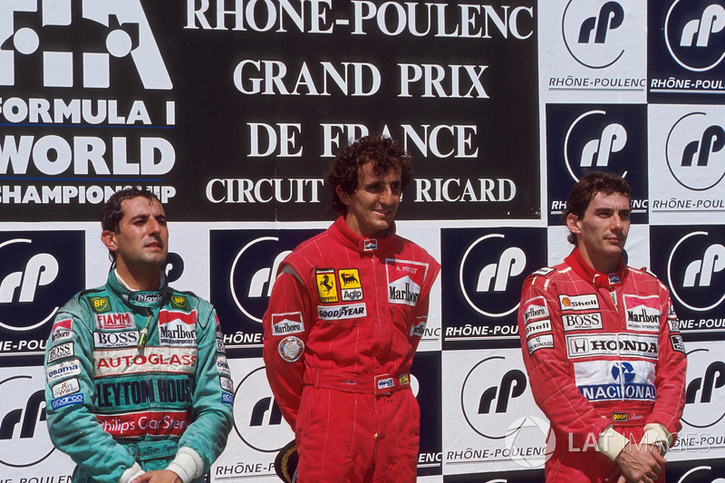 Podium: race winner Alain Prost, McLaren, second place Ivan Capelli, Letyton House, third place Ayrton Senna, McLaren
