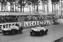 Paul Frere, Desmond Titterington, Jaguar D-type, leads Jack Fairman, Ken Wharton, Jaguar D-type