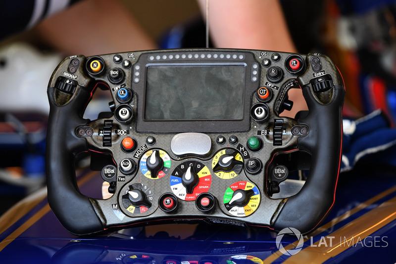 The steering wheel detail of Sauber C36
