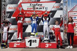 Podium Easykart 60: winner Daniele d'Urso, second place Ruhaan Alva, third place Lorenzo Patrese
