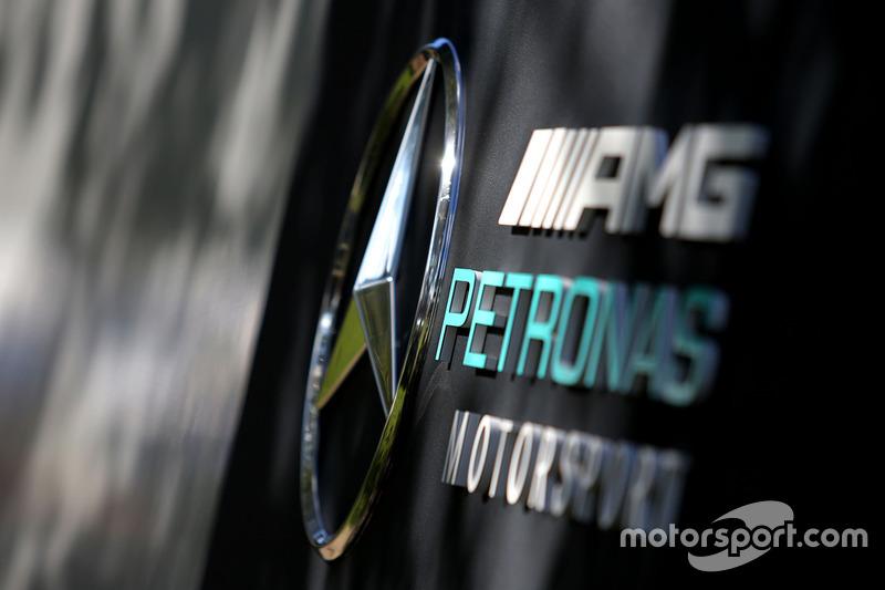 Mercedes AMG F1 logo signage
