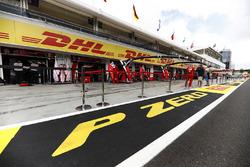 Pirelli branding outside of the Force India and Ferrari