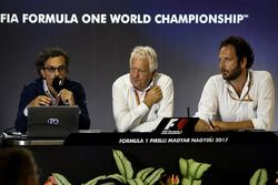 Laurent Mekies, FIA Safety Director, Charlie Whiting, FIA Delegate and Matteo Bonciani, FIA Media De