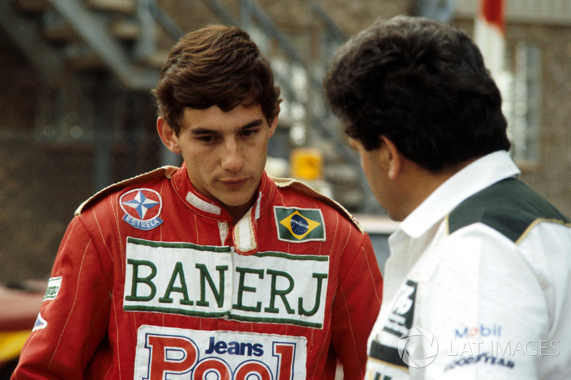 Ayrton Senna und Allan Challis, Williams-Teammanager