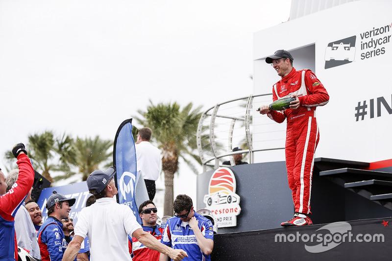 Race winner Sébastien Bourdais, Dale Coyne Racing Honda celebrating with champagne
