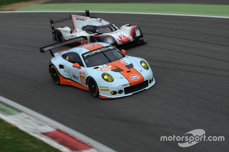 #86 Gulf Racing, Porsche 911 RSR: Michael Wainwright, Ben Barker, Nick Foster; #2 Porsche Team, Porsche 919 Hybrid: Timo Bernhard, Earl Bamber, Brendon Hartley