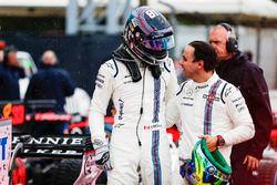 Lance Stroll, Williams, Felipe Massa, Williams, dans le Parc Fermé