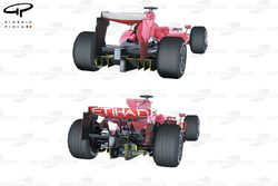Ferrari F60 (660) 2009 ile F2008 difüzör karşılaştırması