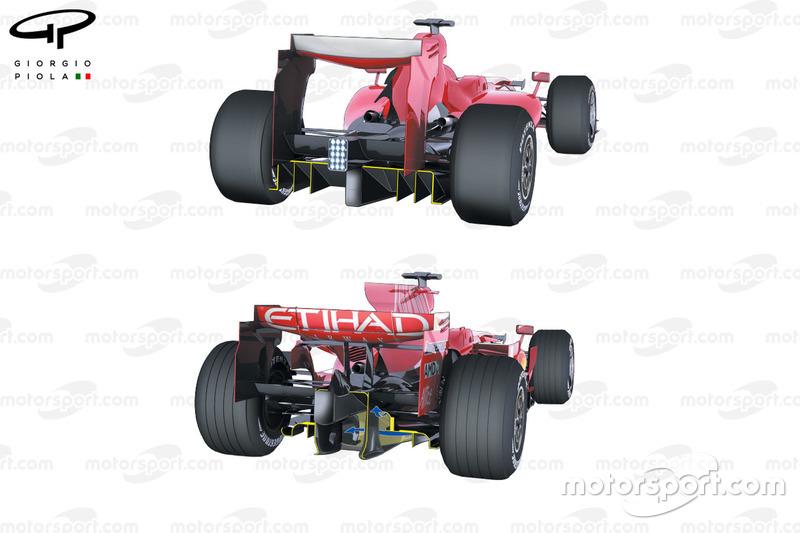 Comparaison du diffuseur de la Ferrari F60 (660) de 2009 et celui de laF2008