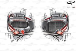 McLaren MP4-23 asymmetric sidepod layout, right hand sidepod inlet reduced in size to optimise drag/cooling