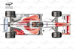 Toyota TF104B 2004 top view comparison with TF104
