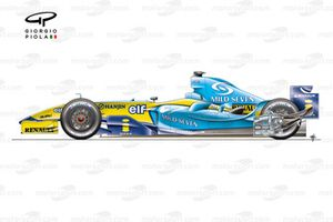 Renault R24 2004 side view with gearbox detail