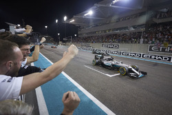 Race winner Lewis Hamilton, Mercedes AMG F1 W07 Hybrid crosses the finish line at the end of the rac