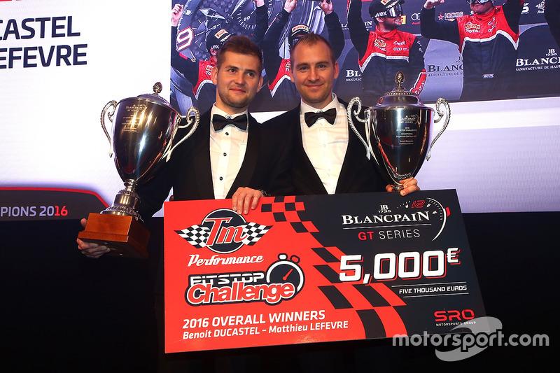 Ganadores del desafío de Pitstop de rendimiento TM, Benoit Ducastel, Matthieu Lefevre, belga Audi Club equipo WRT