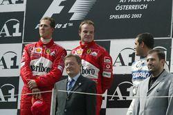 Podium: race winner Michael Schumacher, Ferrari, second place Rubens Barrichello, Ferrari, third pla