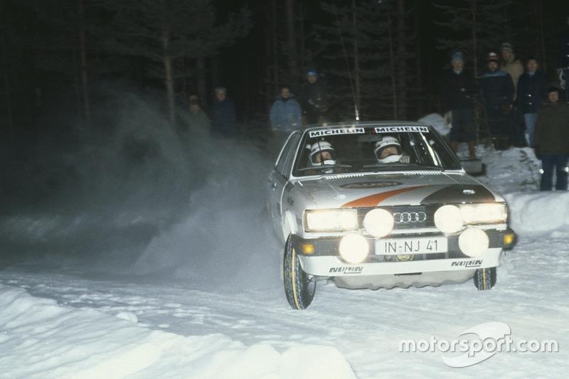 Stig Blomqvist, con un Audi 80 Quattro en el Rally de Suecia 1983