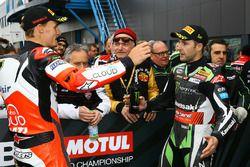 Chaz Davies, Ducati Team, Jonathan Rea, Kawasaki Racing confrontatie in parc ferme