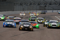 Start of the race, Derek Johnston, Jonny Adam, TF Sport Aston Martin Vantage GT3 leads