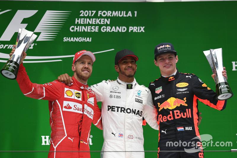 2017: 1. Lewis Hamilton, 2. Sebastian Vettel, 3. Max Verstappen