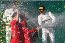 Podium: winner Sebastian Vettel, Ferrari, second place Lewis Hamilton, Mercedes AMG F1, third place