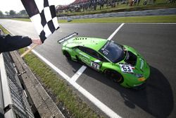 #63 GRT Grasser Racing Team Lamborghini Huracan GT3: Christian Engelhart, Mirko Bortolotti, takes the checkered flag