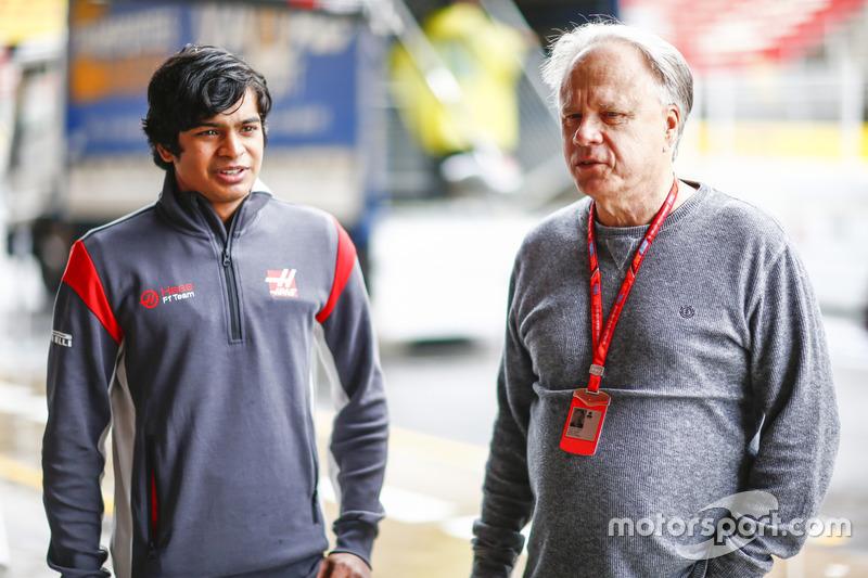 Arjun Maini, Haas F1 Team Development Driver and Gene Haas, Founder and Chairman, Haas F1 Team