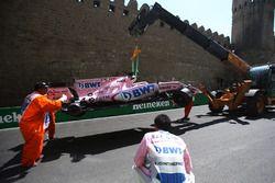 La voiture accidentée de Sergio Perez, Sahara Force India VJM10