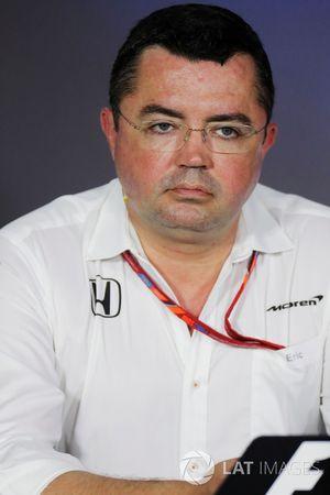 Eric Boullier, directeur de la compétition McLaren, lors de la conférence de presse
