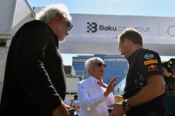 Flavio Briatore, Bernie Ecclestone, Christian Horner, Red Bull Racing director del equipo