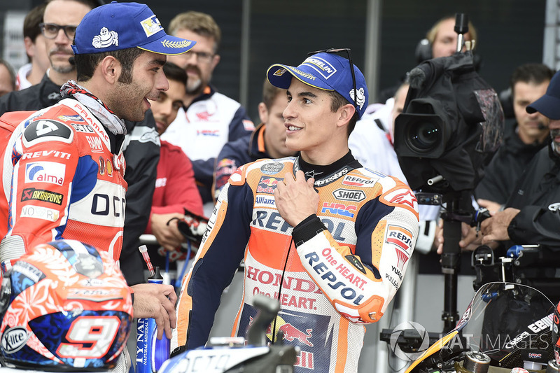 Second place Danilo Petrucci, Pramac Racing, Marc Marquez, Repsol Honda Team