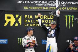Podium: Winner Johan Kristoffersson, PSRX Volkswagen Sweden, VW Polo GTi, second place Mattias Ekström, EKS, Audi S1 EKS RX Quattro