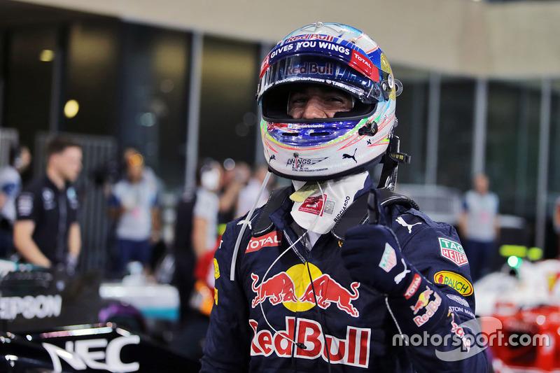 Daniel Ricciardo, Red Bull Racing celebra su tercera posición en la clasificación en parc ferme