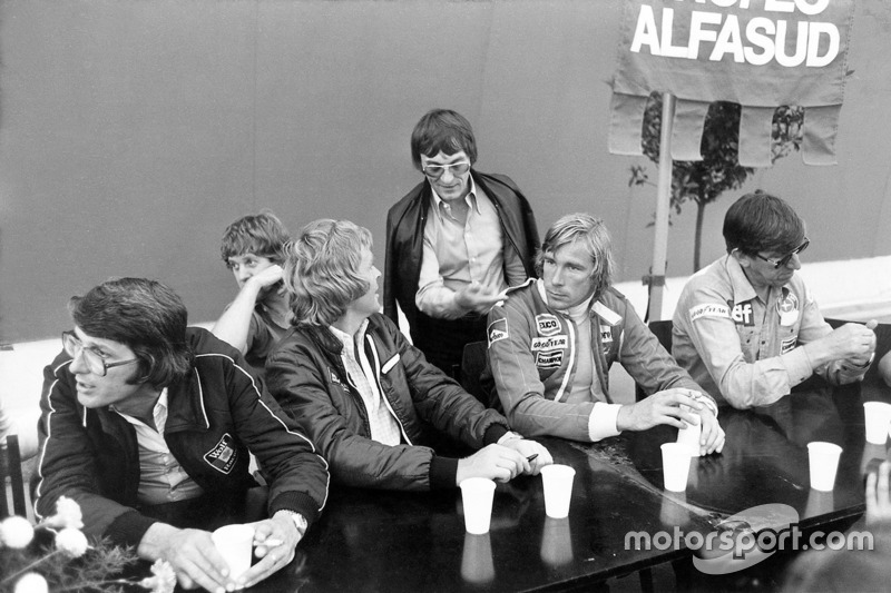 Peter Warr, Lotus team manager, Ian Scheckter, Max Mosley, Bernie Ecclestone, James Hunt and Ken Tyrrell