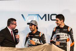 (L to R): David Croft, Sky Sports Commentator with Sergio Perez, Sahara Force India F1 and Esteban O