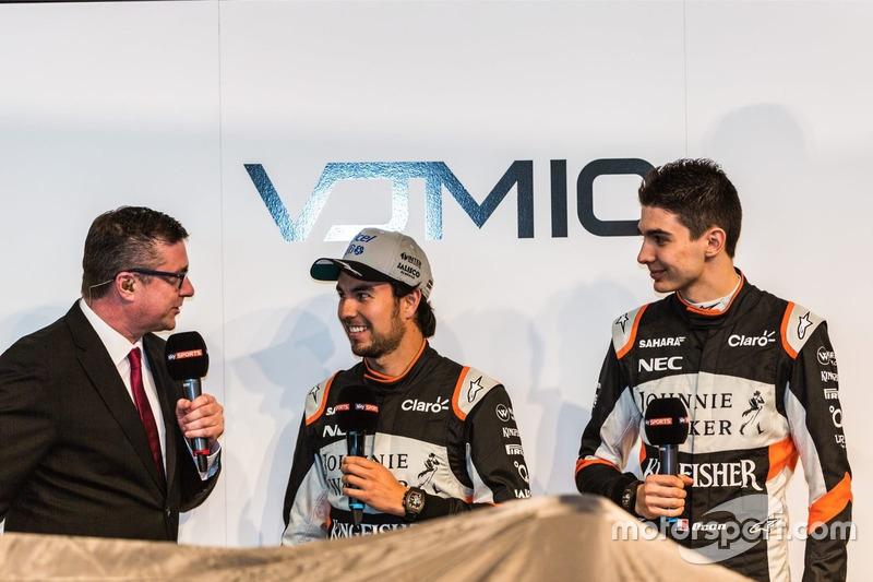 David Croft, Sergio Perez und Esteban Ocon, Sahara Force India F1 Team