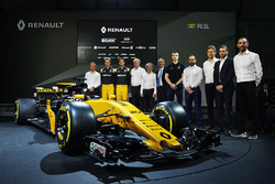 (L to R): Bob Bell, Renault Sport F1 Team Chief Technical Officer; Nico Hulkenberg, Renault Sport F1 Team; Jolyon Palmer, Renault Sport F1 Team; Jerome Stoll, Renault Sport F1 President; Alain Prost, Renault Sport F1 Team Third Driver; Thierry Koskas, Renault Executive Vice President of Sales and Marketing; Pepijn Richter, Microsoft Director of Product Marketing; Tommaso Volpe, Infiniti Global Director of Motorsport; Cyril Abiteboul, Renault Sport F1 Managing Director, and the Renault Sport F1 Team RS17