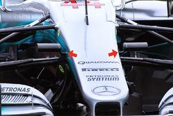 Détails de l'avant de la Mercedes AMG F1 W08