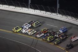 Matt Crafton, ThorSport Racing Toyota, Johnny Sauter, GMS Racing Chevrolet, Ben Rhodes, ThorSport Racing Toyota last lap