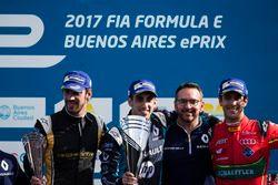 Podium: Racewinnaar Sébastien Buemi, Renault e.Dams; tweede plaats Jean-Eric Vergne, Techeetah; derd
